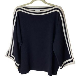St. John Sport Black/Ivory Stripe Poncho Style Santana Knit Sweater Size Large